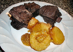 Shortribs stewed in spiced red wine, candied yams