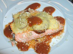 "Trout ""stuffed"" and charred tomato sauce"