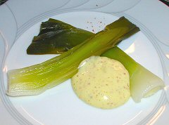 Poached Leeks with Mustard Vinaigrette