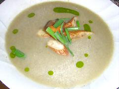 Roasted Eggplant soup with Pickled Eggplant
