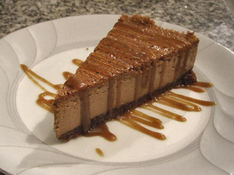 Chocolate cheesecake with butterscotch sauce