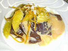 Chocolate fettucine with dulce and orange
