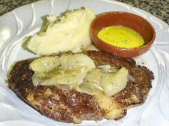 Rib-eye with yellow chimichurri