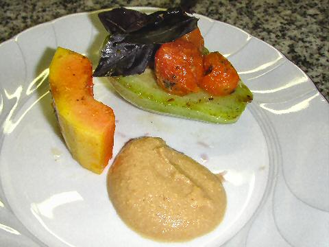 Grilled Papaya & Chayote with Peanut Sauce