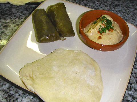 Stuffed grape leaves and hummus
