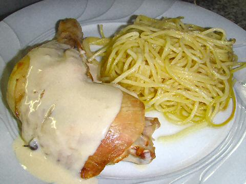 Shawarma chicken and spaghetti