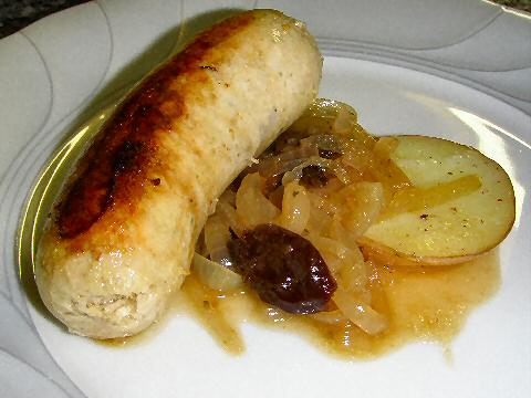 Boudin Blanc with onion prune compote