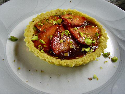 Strawberry Pistachio tartlet
