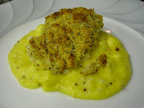 Horseradish crusted Grouper with Anchovy Mustard Polenta