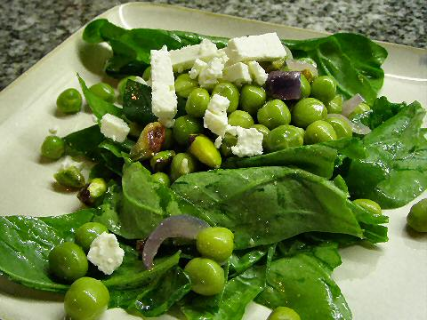 Fresh Pea and Spinach Salad with Mint Vinaigrette