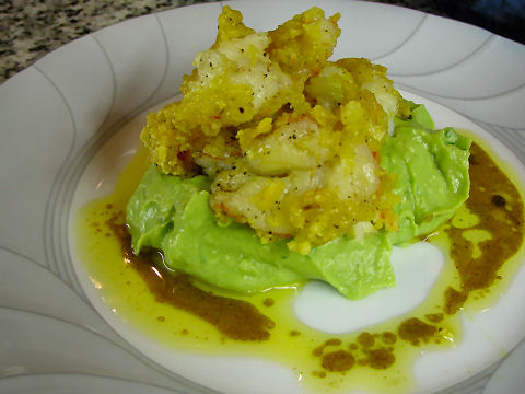 Tortilla Crusted Prawns, Guacamole, Chipotle Butter