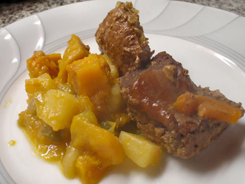 Braised lamb with potato and squash ragout