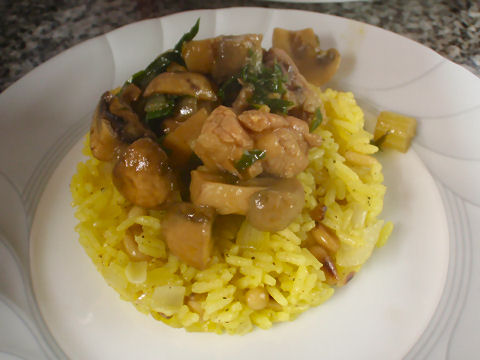 Braised sweetbreads over saffron rice