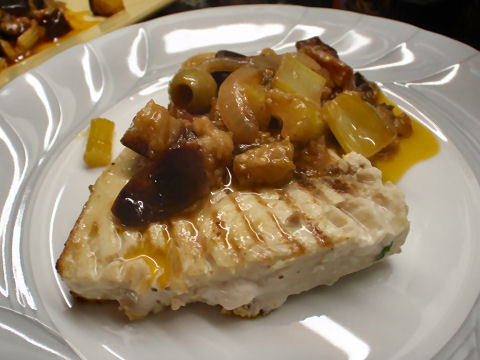 Grilled swordfish with caponata