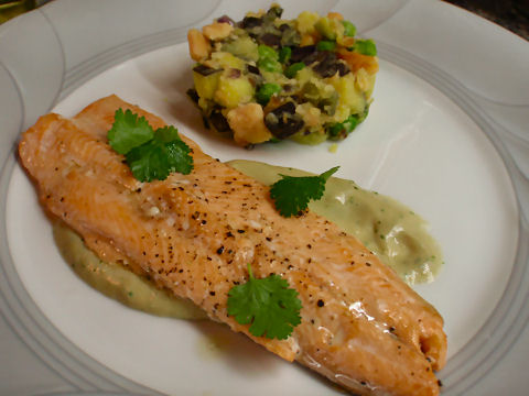 Trout with salsa nieve andina