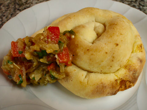 Cheese Borek with eggplant-pepper salad