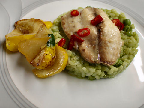 Snapper over Pesto Rice