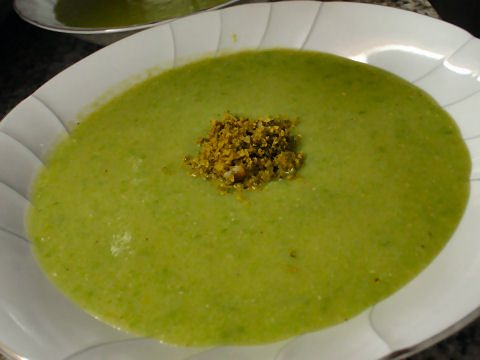 Fresh pea soup with mint pesto