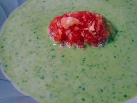 Chilled Pea Soup, Watermelon Crab Gelee