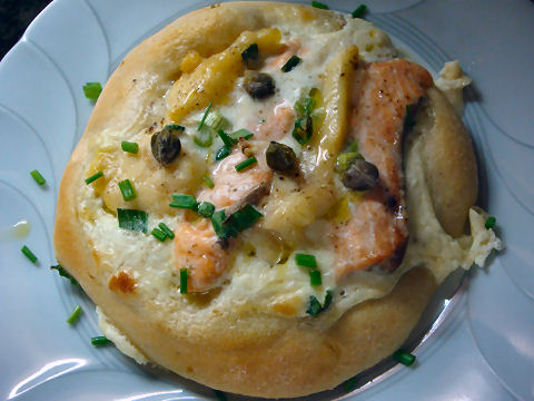 Salmon and Surubi Pizzetta
