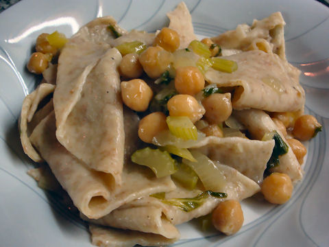 Langanelli with Celery, Chickpeas and Bagna Cauda