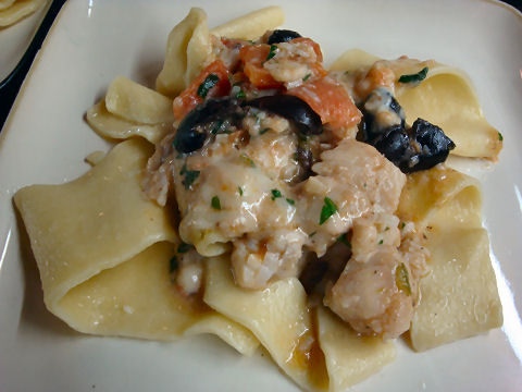 Pappardelle with Perch and Feta Ragout
