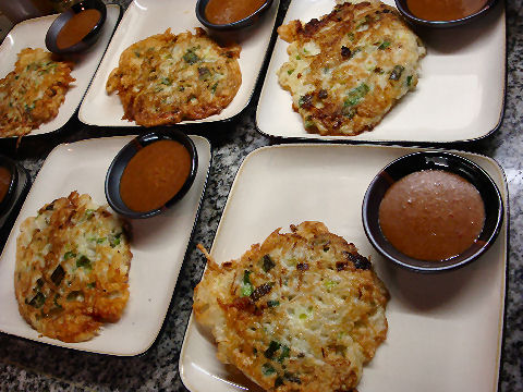 Scallion and Beansprout pancakes