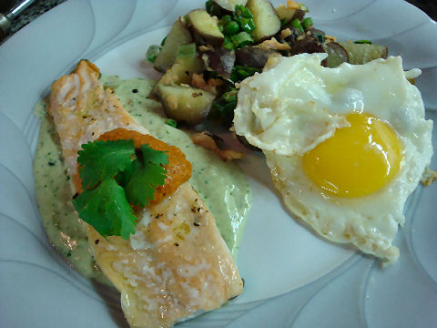 Trout in two sauces, Smoked Trout hash