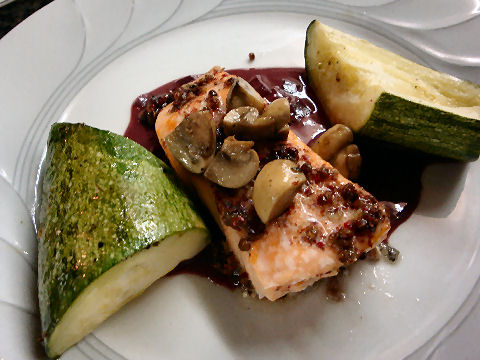 Roasted Salmon in Red Wine Sauce
