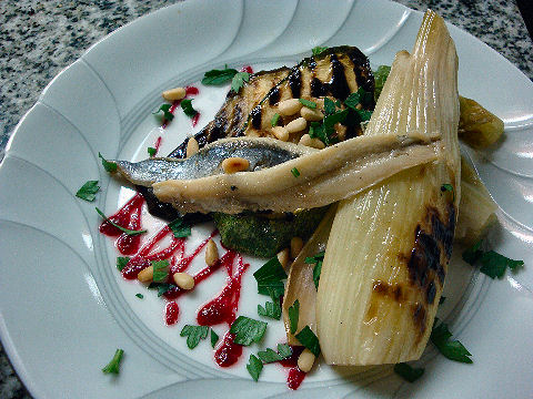 Grilled Vegetable and Boquerone salad