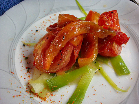 Warm Leek, Tomato & Pepper Salad