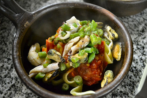 Calamarette and Mussels with Black Pepper Fettucine