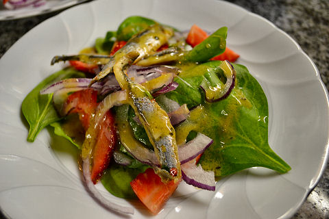 Salad of Spinach, Strawberries, Red Onions, Boquerones