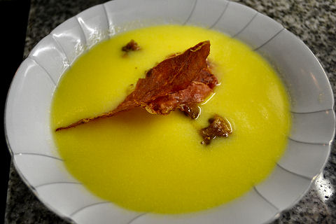 Corn Soup with Jamon Serrano and Figs