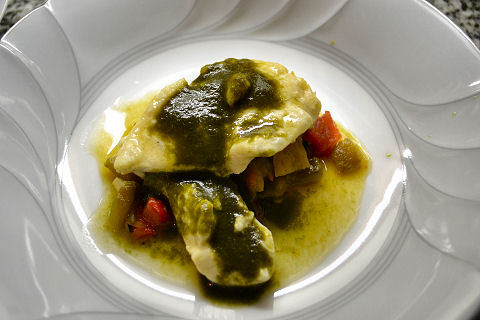 Fillet of Sole with Roasted Peppers and Spinach Sauce