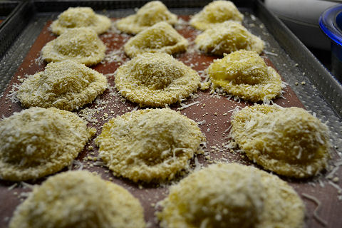Toasted ravioli ready to go into the oven
