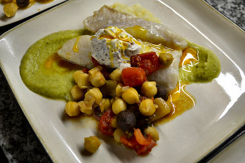 Baked Hake, Zucchini Puree, Chickpea Sofreito, Couscous