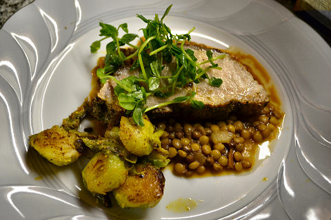 Herb crusted Pork Loin, Lentils, Brussels Sprouts