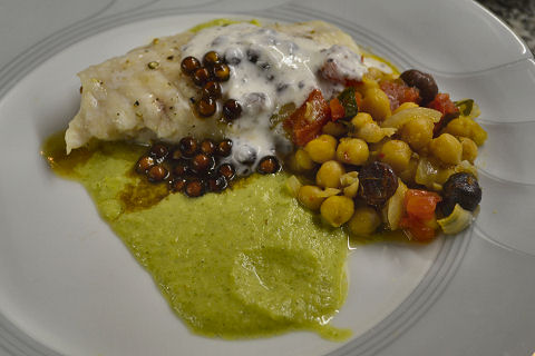 Grouper with Zucchini Puree and Chickpea Sofreito