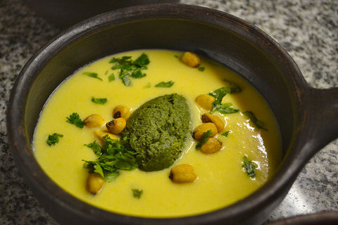 Chilled corn soup, spinach sorbet