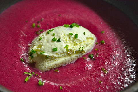 Chilled Beet Soup, Jalapeño Ice Cream