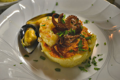 Grilled shellfish causa