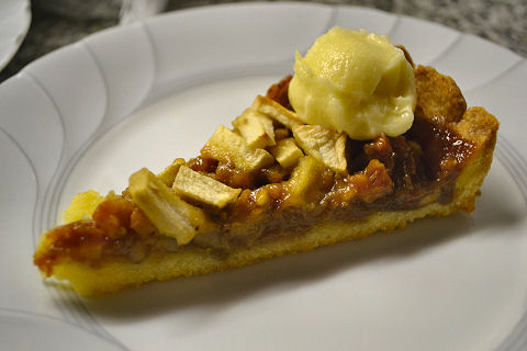 Apple-Walnut Tart with Hard Sauce