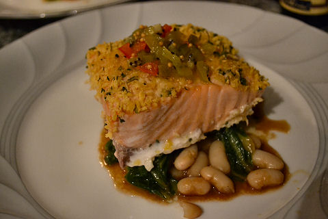 Salmon, white beans and napa cabbage, kiwi relish