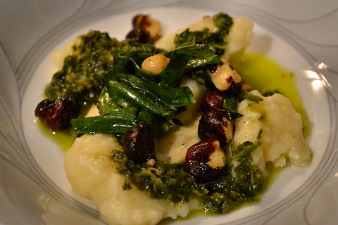 Gnocchi with salsa verde, hazelnuts, green onions