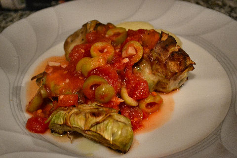Spicy Green Olive Artichokes