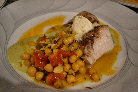 Grouper, Chickpeas, Zucchini puree