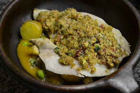 Palometa with bacon green olive crust