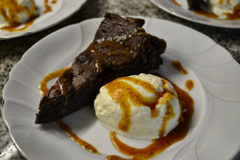 Chocolate Ginger Cake with Cardamom Gelato