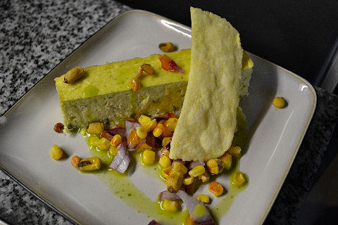 Corn and Green Onion Cheesecake